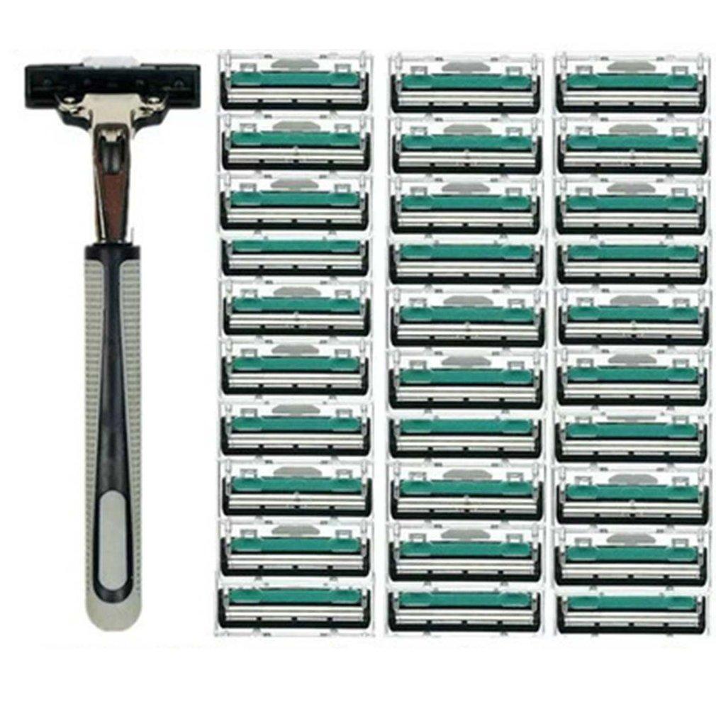1 Handle 30PCS Double Layers Men Face Shaving Razors Blades Male Manual Razor Blades For Standard Beard Shaver Trimmer Blades