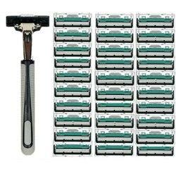 1 mango de 30 piezas de doble capa de afeitar para hombre, cuchillas de afeitar manuales para afeitadora de barba estándar las cuchillas