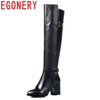 EGONERY 2018 newest hot sale soft genuine leather knee high boots super high hoof heels pointed toe zip winter warm women shoes