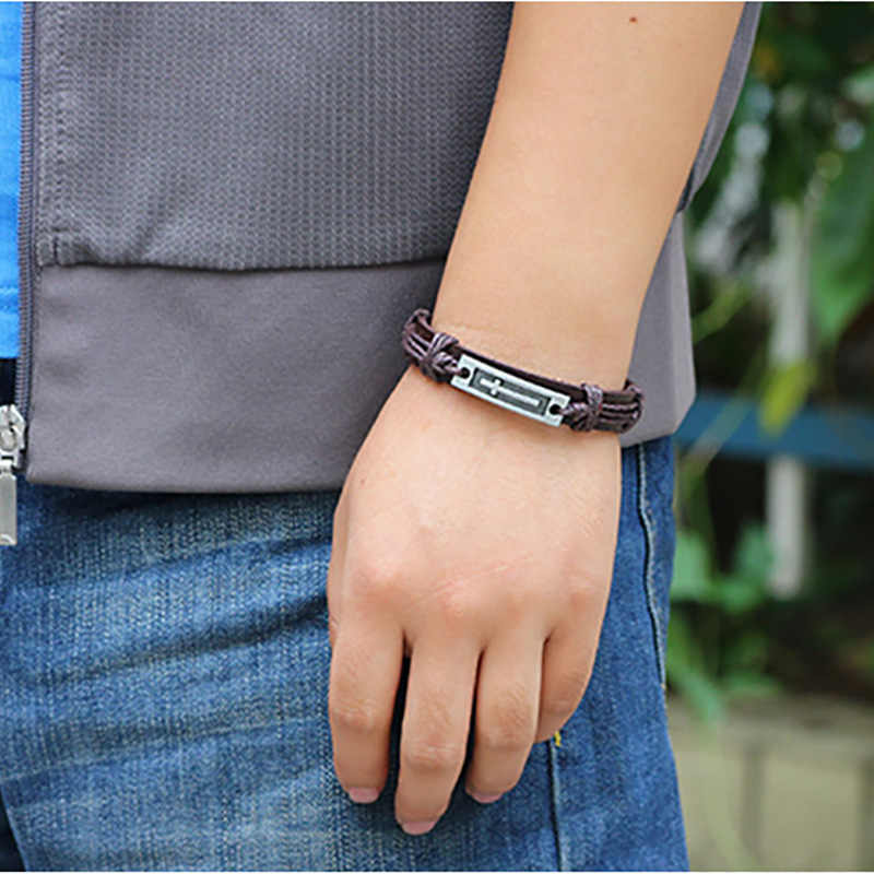 Thời trang Quyến Rũ Vòng Tay Người Đàn Ông Da Chính Hãng Cuff Bangles Silver Cross Có Thể Điều Chỉnh Dệt Cord Chain Wristband Phụ Nữ Đồ Trang Sức