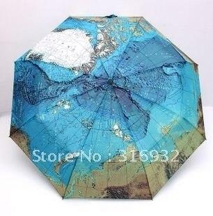Free shipping,Vintage Blue World Map Anti-UV Water repellent Manual Umbrella