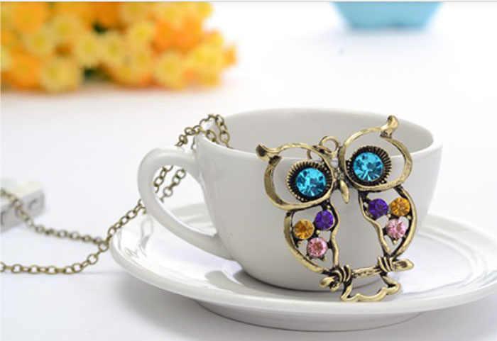 2019 nowe mody pani kryształ niebieski Eyed Owl wisiorek z długim łańcuszkiem sweter płaszcz naszyjnik moment obrotowy akcesoria seksowny łańcuch @ 3