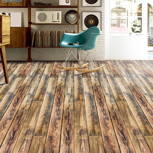 Wall Tile Art Floor Sticker Simulation Wood Flooring Self Adhesive Stickers Bedroom