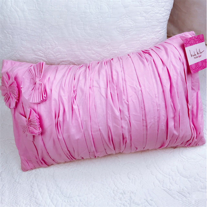 25x40cm Rectangle Shape Pink Flower bowknot Cushion With Core Grils Women Bedroom Car Home Sofa Decorate Pillow
