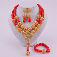 Fashion Red Nigerian Wedding Coral Beads Jewelry Set African Costume Jewelry Necklace Sets CJS05