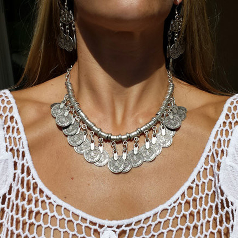 Bohemian Ethnic Antalya Silver Turkish Gypsy Boho Coachella Beach Choker Bib Carved Coin Necklace Jewelry