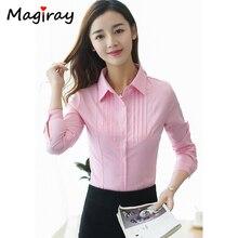 Mgiray Long Sleeve Pink Black White Blouse Women Summer Work Office Top Pleated Harajuku Plus Size 5XL Shirt Feminina Top C255 цена 2017