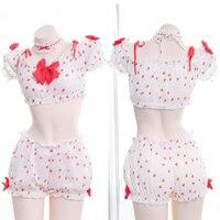 Kawaii Sexy Women 3PCS Lingerie Set Lolita Girls Strawberry Bowknot Ruffle Camisoles Set Anime Cosplay Underwear Intimates Set