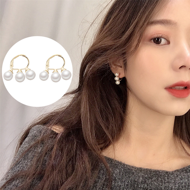 Sweet Romantic Gold Color Small Mini Pearls Tassel Drop Earrings For Lady Women's Pearl Stud Earring For Party Bridal Jewelry
