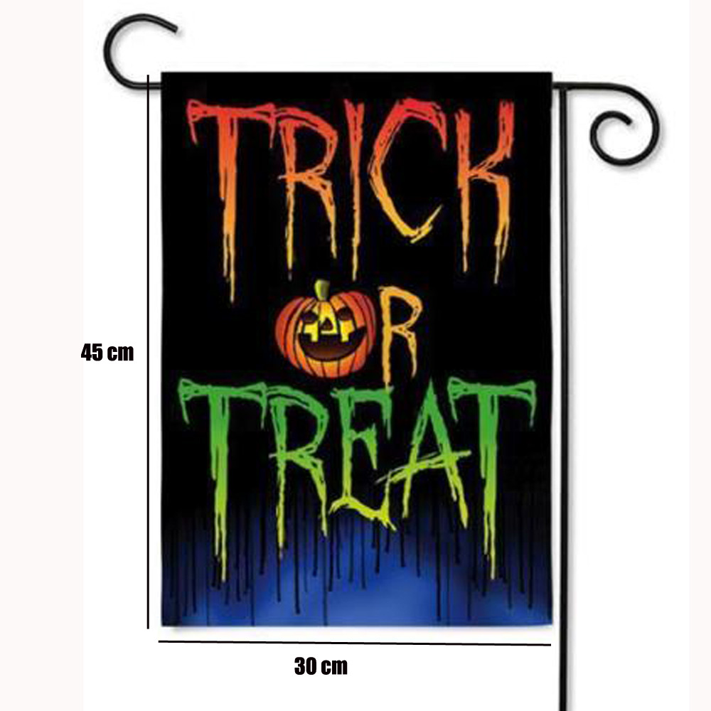 hot sale halloween decoration trick or treat double sided suede glitter halloween garden flag 125x18 - Halloween Sales