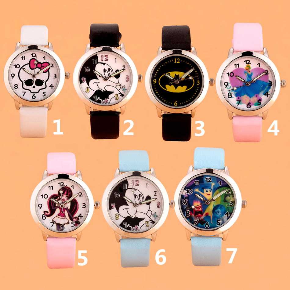3D Cartoon Lovely Kids Girls Boys Children Students Quartz Wrist Watch Very Popular Watches ANNA Princess Style Clock White Pink joyrox minions pattern children watch 2017 hot despicable me cartoon leather strap quartz wristwatch boys girls kids clock