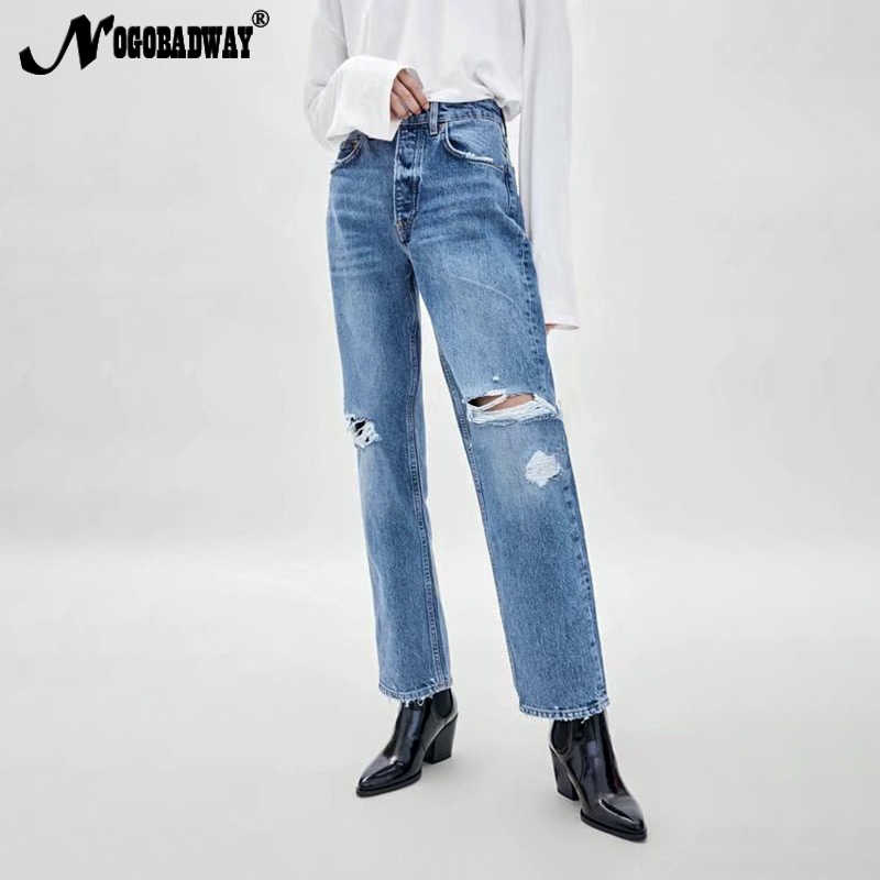 8115c8ea8a6711 High waist ripped jeans women straight boyfriend destroyed distressed hole denim  pants blue slim casual 2019