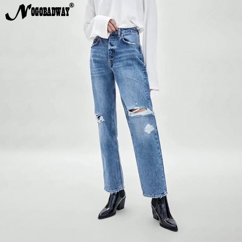 8c58fcdd0f017 Detail Feedback Questions about High waist ripped jeans women straight  boyfriend destroyed distressed hole denim pants blue slim casual 2019  winter spring ...