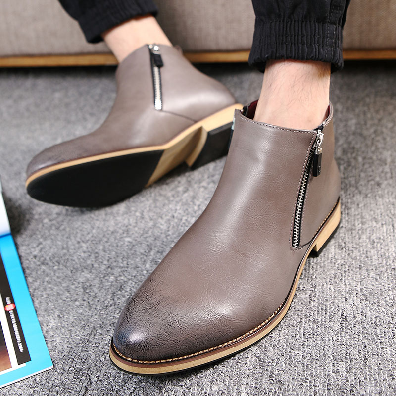 Fashion Men Winter Fashion Casual Zip Pointed Toe Suede Shoes Ankle Boot Loafers
