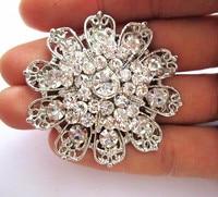 Vintage Silver CZ Crystal Brooch for Wedding Invitation Flower Pins