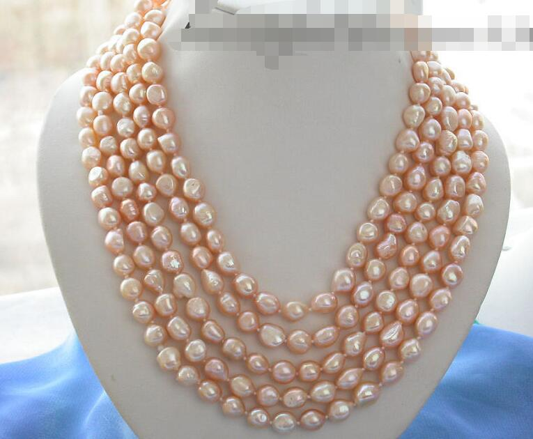 все цены на FREE SHIPPING>@@> 3490 baroque pink freshwater pearl necklace