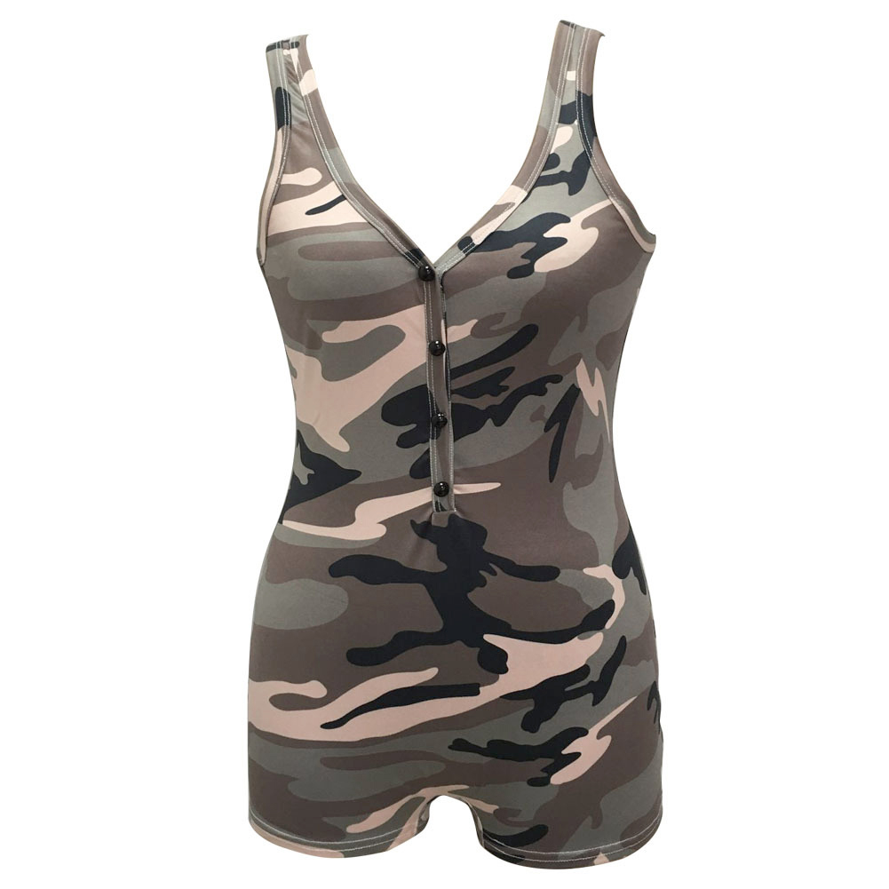 8cf6537f0 Sexy Women Camouflage Sleeveless Jumpsuit Deep V Neck Playsuit Shorts  Casual Overalls Vest Female Jumpsuit Rompers Army Green-in Rompers from  Women's ...
