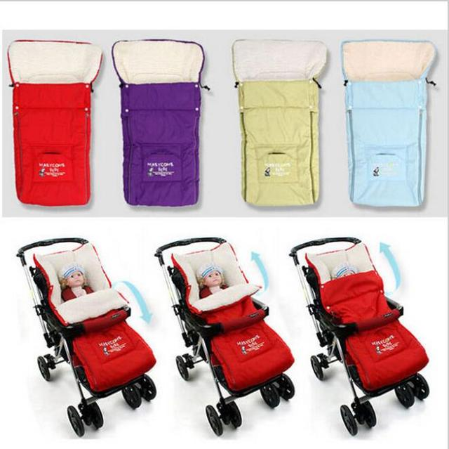2015 Warm envelope for newborn fur stroller Baby Sleeping bag winter Coral fleece stroller cover Blanket baby Sleeping bag c15