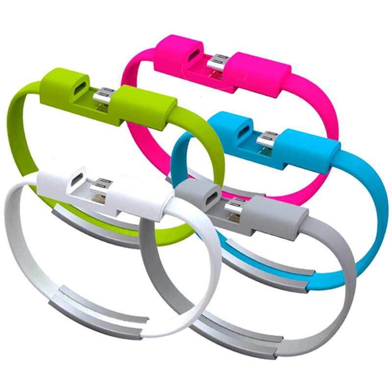 22CM V8 Micro USB Cable Silicone Wrist Bracelet Data Sync Charge Cables Wristband For Samsung Xiaomi