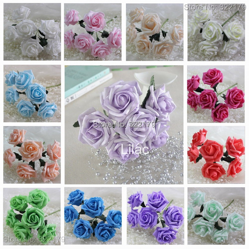 72pcs Fake Flowers Foam Roses Various Colors Wedding Flowers For