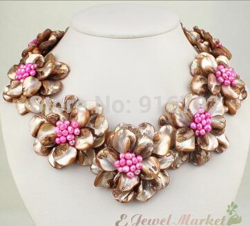 Brown shell rose FW perle fleur collier