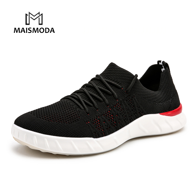 MAISMODA 2018 Fashion Men Shoes Casual Weaving Fly Mesh Breathable Light Soft Black Slip on Mens Shoe Male YL301