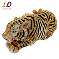 Stylish Animal Tiger Diamond Evening Bag Gold Luxury Diamante Crystal Clutch bag Wedding elegant bride Party banquet Purse 88166