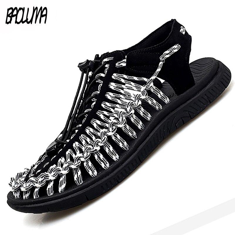Summer Big Size 48 Men Sandals Fashion Handmade Weaving Design Breathable Casual Beach Shoes Soft Bottom Outdoor Sandals For Men