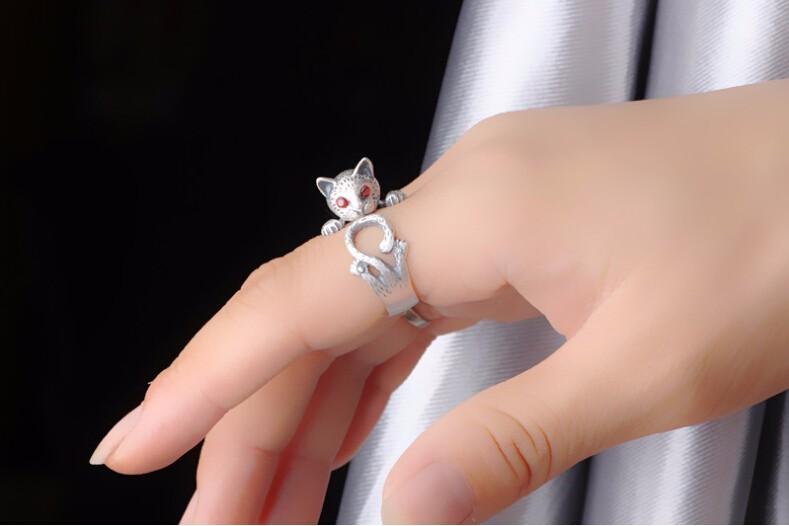 HIGH QUALITY RETRO STYLE CUTE CAT THAI SILVER RING-Cat Jewelry-Free Shipping HIGH QUALITY RETRO STYLE CUTE CAT THAI SILVER RING-Cat Jewelry-Free Shipping HTB1Cb07LXXXXXbSXVXXq6xXFXXX1