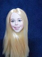 1/6 Happy Girl Women Head Blond Straight Long Hair for 12'' Bodies