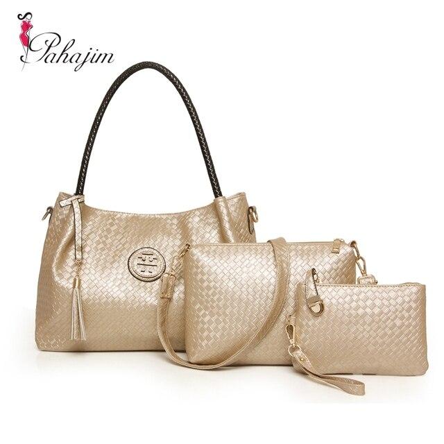 Pahajim Brand 3 Sets Women Handbag Casual Knitting Tote Bag Large Shoulder Bags Las Handbags