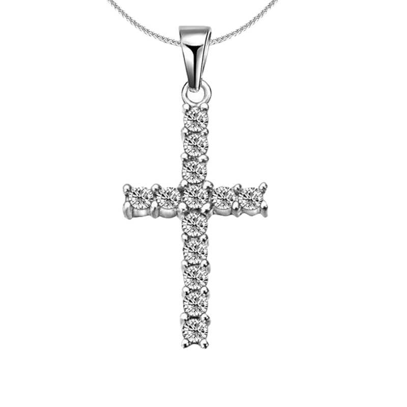 Fashion Silver Color Cross Necklaces & Pendants Collars For Women Men Accessories Jewelry