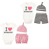 2017 Baby Girls Boys Clothing Sets White Cotton Rompers Striped Pants Hat 3Pcs Infant Bebe Suits