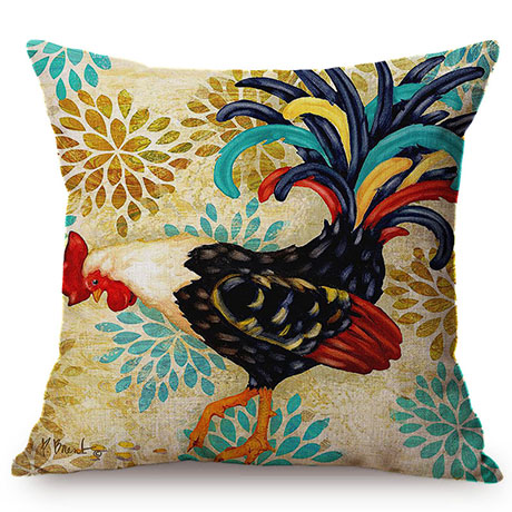 Colorful Cock Oil Painting Art Chicken Rooster Throw Pillow Cover Home Decorative Cotton Linen Sofa Cushion Cover Car Pillowcase M093-3