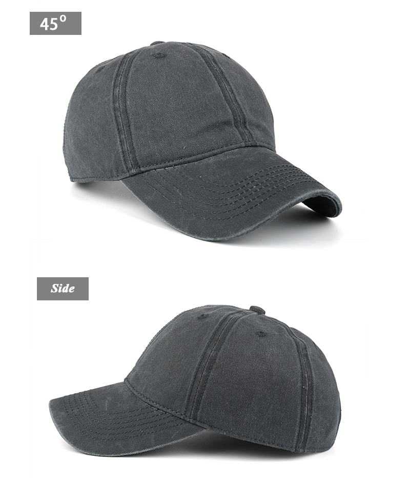Pre-washed Cotton Denim Baseball Cap - Front Angle and Side Views