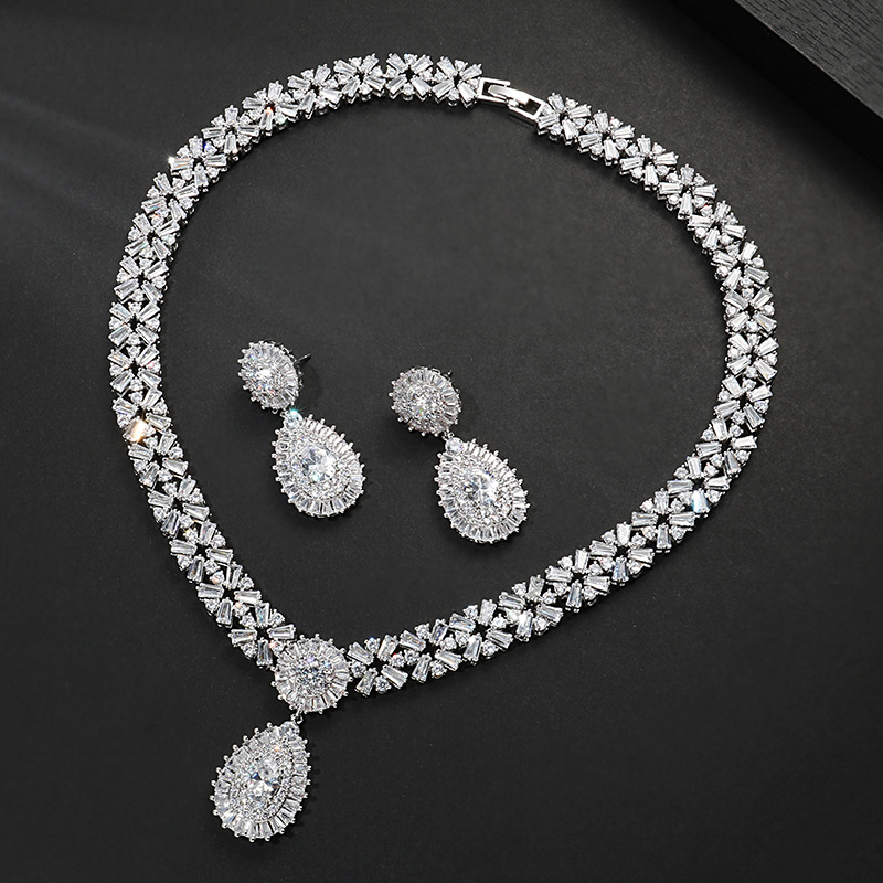 Fashion trendy blue zircon jewelry set for Wedding stud earring necklace pendant women jewelry gifts J4778 bosck top luxury brand watch men casual brand watches male quartz watches men waterproof business watch military stainless steel