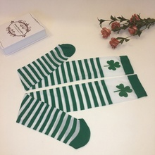 Irish Festival Solid Color St. Patrick's Pantyhose Prom Character Diy Plays White Green Striped High Socks Shower Party Decor