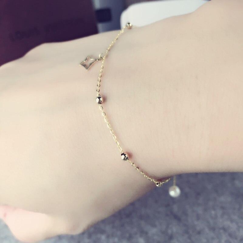 AINUOSHI 18 K pulsera de perlas de oro amarillo Natural cultivada de perlas de agua dulce pulsera de cuatro hojas de regalo de dama cuentas de cadena de regalo-in Pulseras y brazaletes from Joyería y accesorios    3