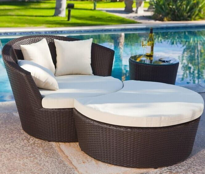 outdoor patio lounge chair combination rattan garden leisure bed siesta recliner chairs coffee table foot balcony