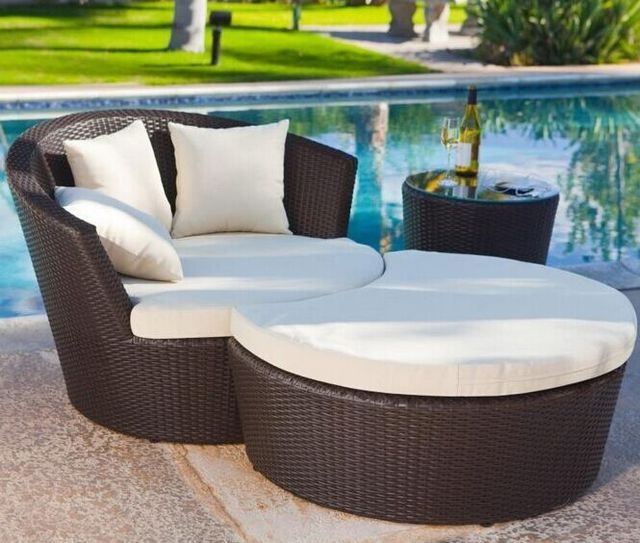 Genial Outdoor Patio Lounge Chair Combination Rattan Garden Leisure Bed Siesta  Recliner Chairs Coffee Table Foot Balcony