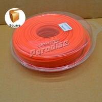 0 095 2 4mm Diamemeter 1LB Square Twist Brush Cutter Nylon Grass Trimmer Line Orange Color