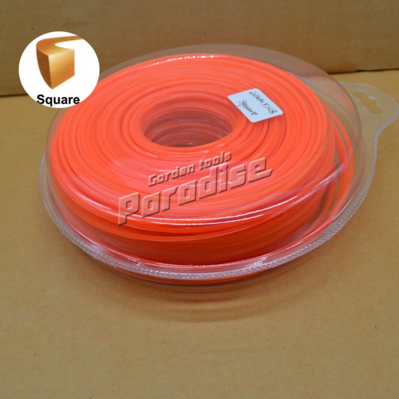 0.08 2.0mm Diameter 1LB(115M) Square Brush Cutter Nylon Grass Trimmer Line Orange Color Blister Card Packing grass trimmer line 3 0mm diameter 500g round for brush cutter power nylon line grass cutting