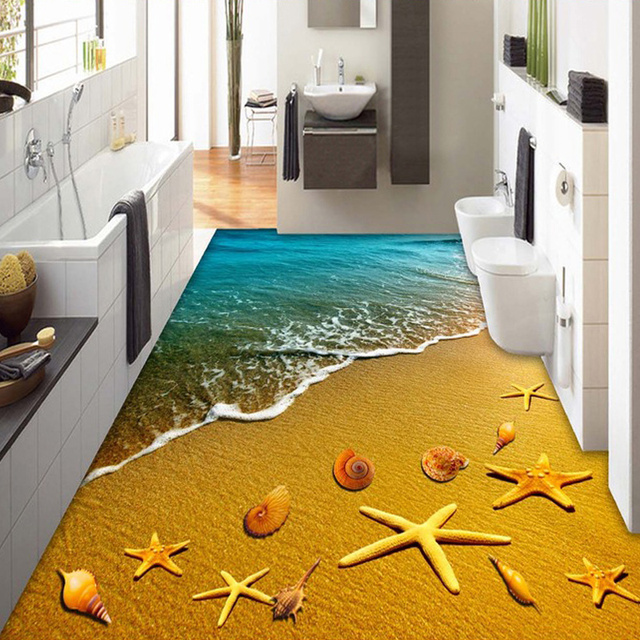 Custom Mural Wall paper Roll Golden Beach Shells Waves ...