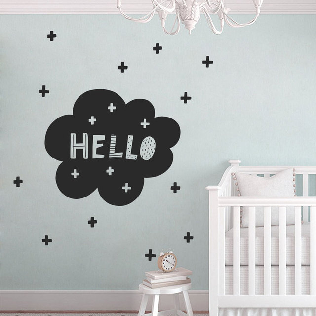 cute hello wall decal scandinavian nursery, modern wall decals