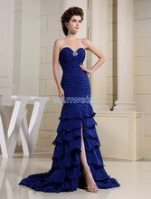 free shipping 2014 formal royal blue long Mermaid prom new design brides maid dress beading custommade size/color evening Dress