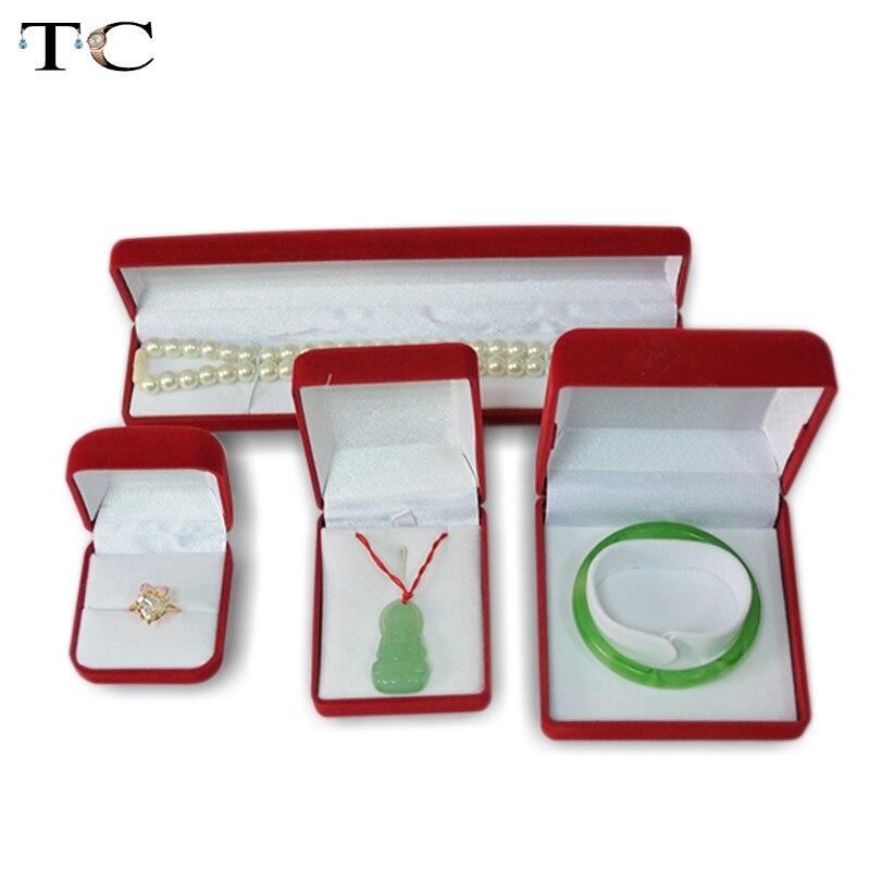 Red velvet jewelry box set gift jewelry packaging boxes for Red velvet jewelry gift boxes