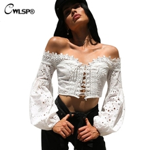 CWLSP Off shoulder Lace up Summer Shirts Lantern Sleeve Women Hollow Out Blouse Sexy Holiday blusas ladies camisa blusa QL3689