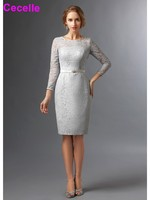 2017 Elegant Sheath Silver Lace Modest Mother Of The Bride Dresses 3 4 Sleeves Jewel Knee