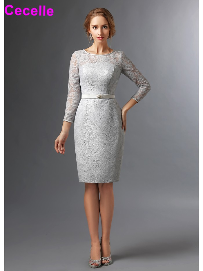 2017 Elegant Sheath Silver Lace Modest Mother Of The Bride