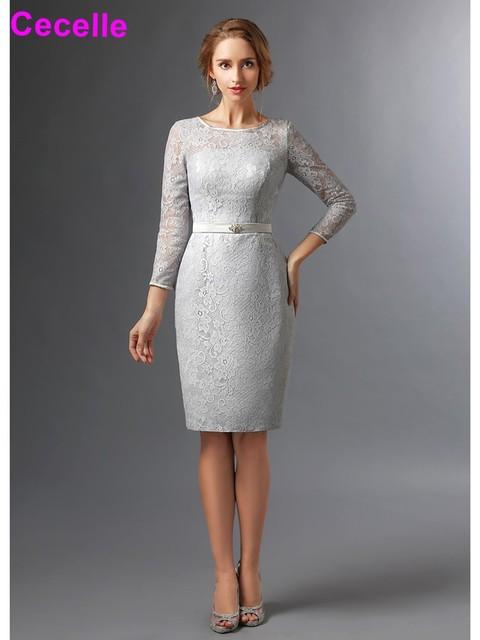 Mother Bride Dresses Knee Length Gray